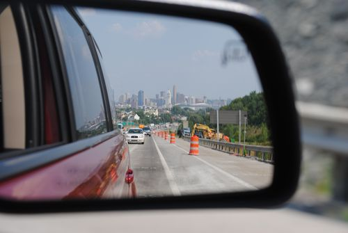 Cincinnati downtown in rearview