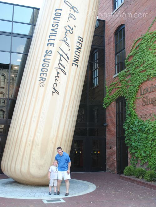 Kid and Dad at Big Louisville Slugger Bat