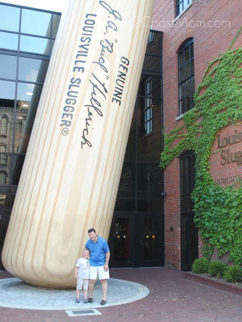 Kid and Dad at Big Louisville Slugger Bat