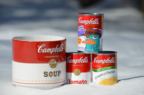 Campbells Soup Bowl and Cans in Snow