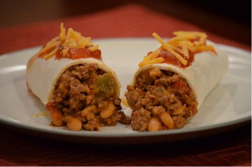 Campbell Soup Bean with Bacon Beef and Bean Burrito Plated
